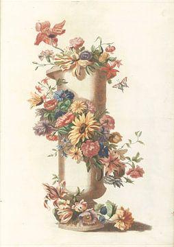 Zylindrische Vase mit Blumengirlande, anonym
