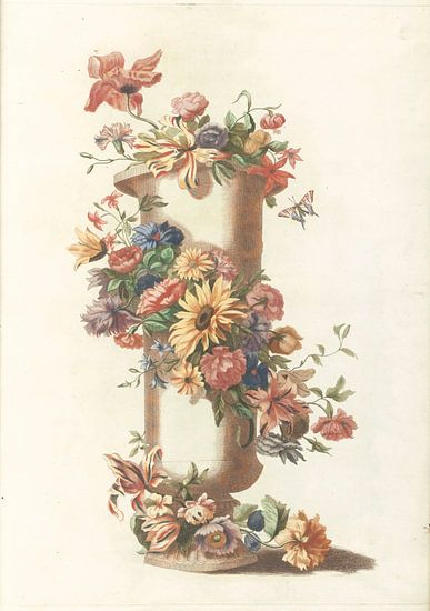 Vase cylindrique avec guirlande florale, anonyme