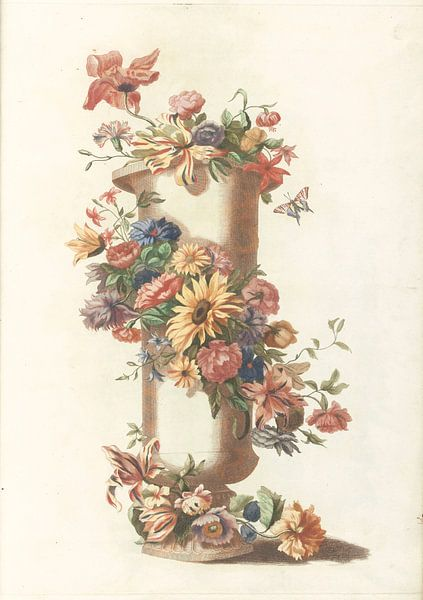 Vase cylindrique avec guirlande florale, anonyme sur Meesterlijcke Meesters