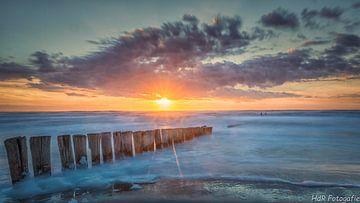 Zonsondergang aan de Noordzee sur Herman de Raaf