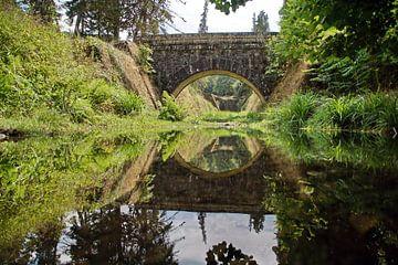 Reflectie van brug in water van