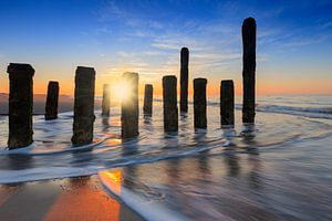 zonsondergang langs de Zeeuwse kust
