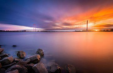 Rijnbrug zonsondergang van Mario Visser