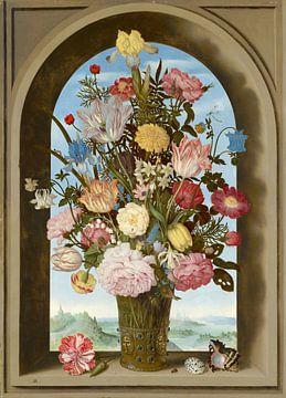 Vase mit Blumen in einem Fenster, Ambrosius Bosschaert der Ältere von Meesterlijcke Meesters