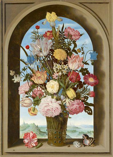 Ambrosius Bosschaert de Oude, Vaas met bloemen in een venster van Meesterlijcke Meesters