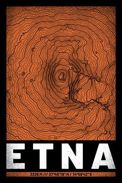 Ätna | Landkarte Topografie (Grunge) von ViaMapia