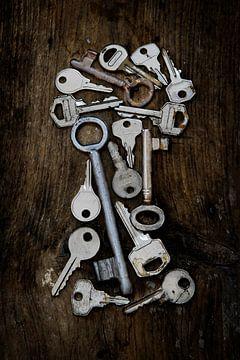 Diverse oude sleutels in de vorm van een sleutelgat op een donkere rustieke houten plank, verticaal van Maren Winter