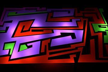 Tha Maze 3-1 van Pat Bloom - Moderne 3d en abstracte kubistiche kunst