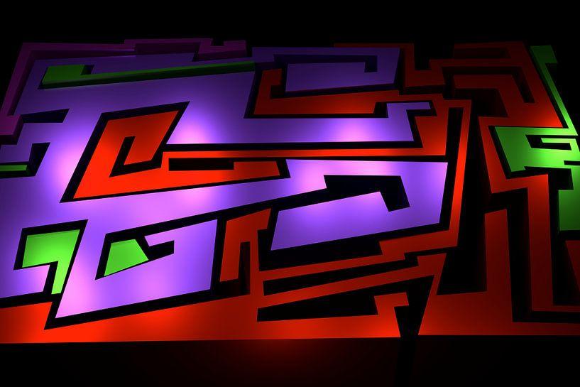 Tha Maze 3-1 sur Pat Bloom - Moderne 3D, abstracte kubistische en futurisme kunst