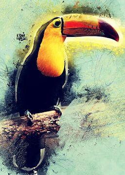 Toekan vogel aquarel kunst #toucan van JBJart Justyna Jaszke