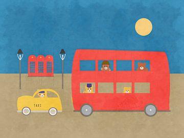 Bus rouge de Londres avec  animaux en peluche et taxi sur Joost Hogervorst
