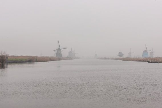 kinderdijk windmolens in de mist van Brian Morgan