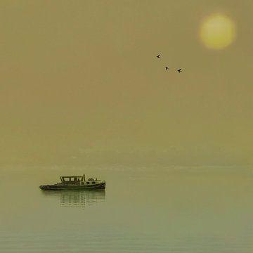 Die Anna (Boot auf einem See bei Sonnenuntergang) von Ruben van Gogh