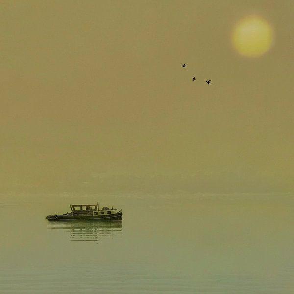 De 'Anna' (boot op een meer tijdens zonsondergang) van Ruben van Gogh