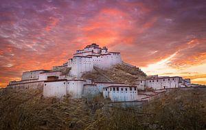Fort Gyantse bij avond, Tibet
