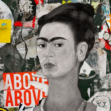 Frida - a Vintage Mural van Marja van den Hurk