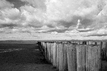 Wellenbrecher am Strand von Zeeland-Flandern von Adriana Zoon
