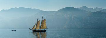 Segelschiff auf dem Gardasee, Malcesine, Gardasee, Verona, Italien von Rene van der Meer
