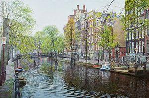 Schilderij: Amsterdam, Oudezijds Voorburgwal van