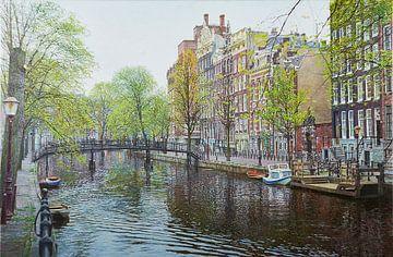 Schilderij: Amsterdam, Oudezijds Voorburgwal van Igor Shterenberg
