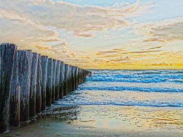 strand palen aan het noordzee strand in de schemering van Groothuizen Foto Art