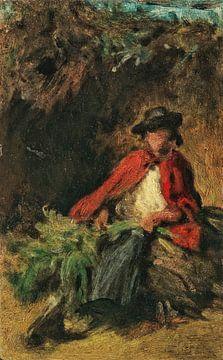 Zittend meisje met een rode mantel, een haas voor zich, CARL SPITZWEG, rond 1865