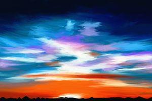 Schilderij van een landschap met een dramatische hemel van