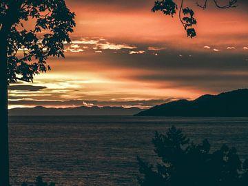 Zonsondergang vanaf Stanley Park, Vancouver, Canada van Daan Duvillier