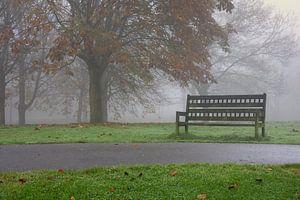 Bankje in de mist