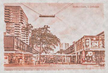 Carte postale d'époque: Lijnbaan à Rotterdam sur Frans Blok