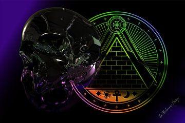 3D-illustratie. Gesmolten schedel drie. van Norbert Barthelmess