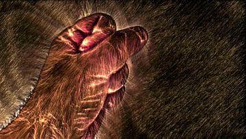 Kirlian gloed van een menselijke hand op zwart van MPfoto71
