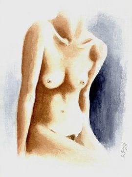 Aquarel schilderij mooie vrouwelijke torso van Marita Zacharias