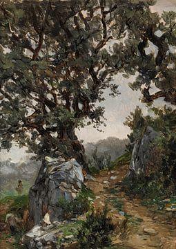 Carlos de Haes - die Landschaft der Eiche nahe der Bergstraße, die alte Landschaft