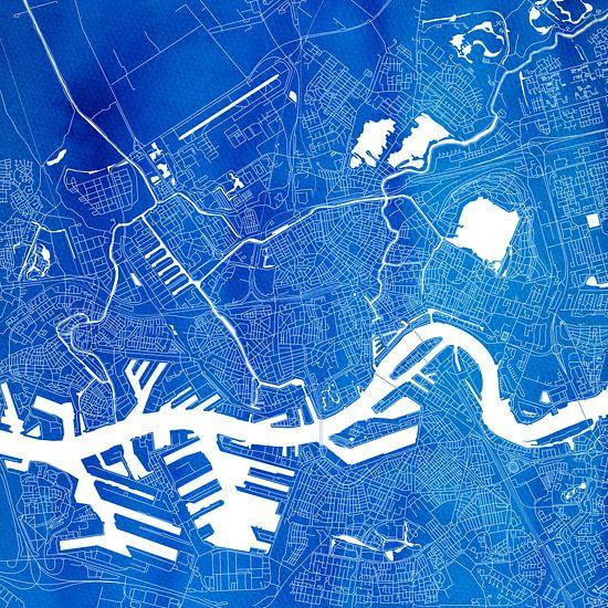 Rotterdam Stadskaart | Blauw Vierkant