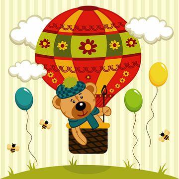 Teddybeer in een luchtballon met bijtjes van Atelier Liesjes