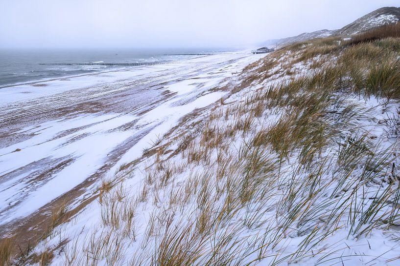 Sneeuw op de Zeeuwse kust van Sander Poppe
