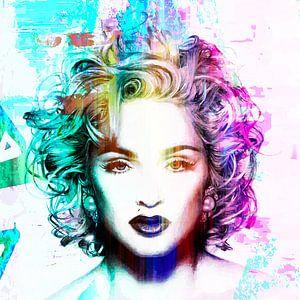 Madonna Vogue Abstrakt Porträt Blau Rosa