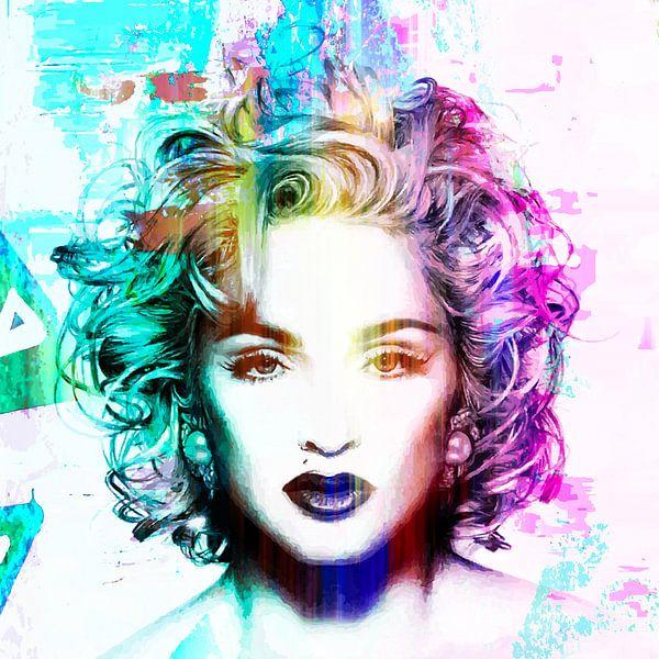 Madonna Vogue Abstrakt Porträt Blau Rosa von Art By Dominic