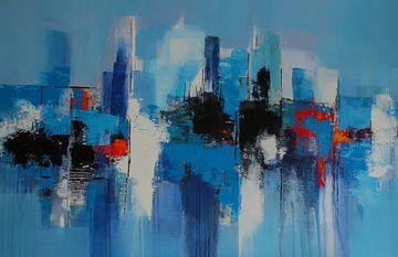 Skyline in blauw van Claudia Neubauer