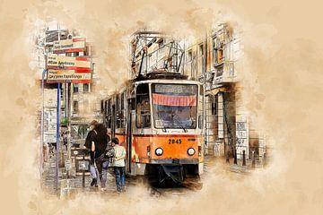 Historische Straßenbahn in Sofia von Peter Roder