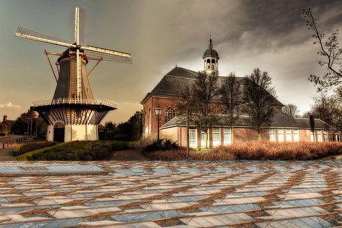 Collage Molen en Dorpskerk in 's-Gravenzande