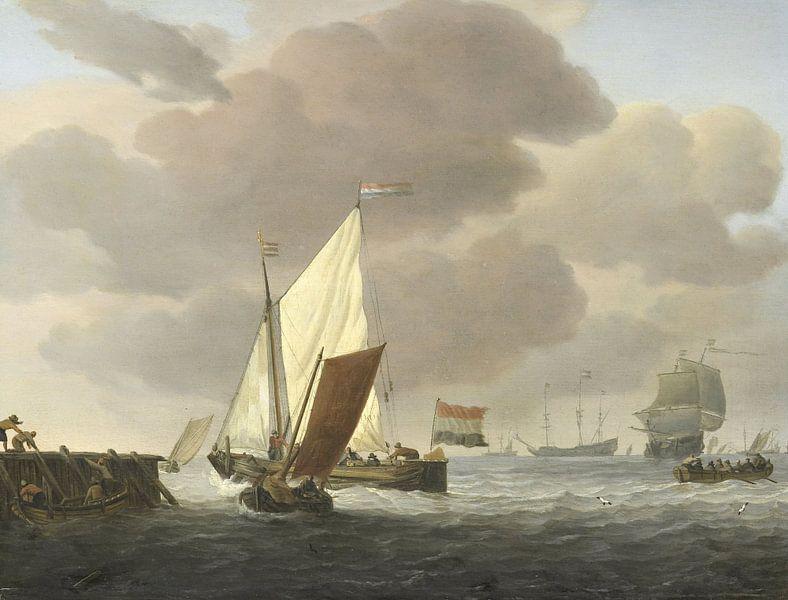 Schepen voor de kust bij flinke bries, Willem van de Velde (II), ca. 1650 - ca. 1707 van Hollandse Meesters