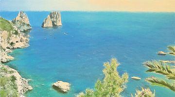 Italië Capri - Uitzicht op Rotsformaties in de Zee - Landschap - Schilderij