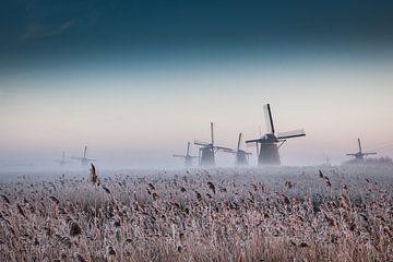Molens in Kinderdijk in  Hollands winterlandschap van Peter Lodder