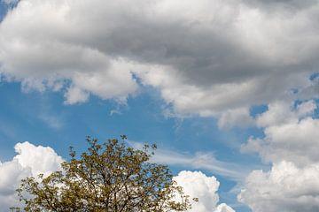 Een blauwe lucht met grijze en witte wolken van JM de Jong-Jansen