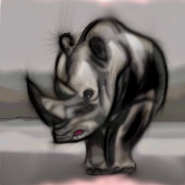 Neushoorn grijs van Raina Versluis