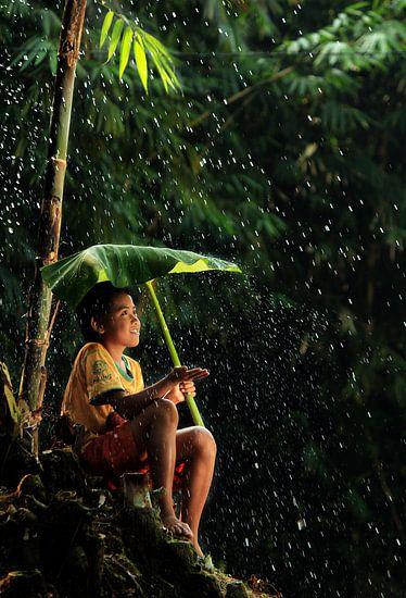 schuilen tegen de regen