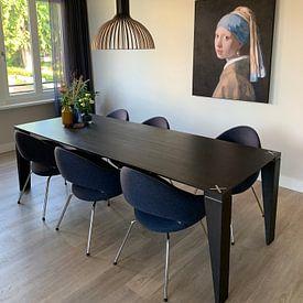 Klantfoto: Meisje met parel - Meisje van Vermeer - Schilderij (HQ), als print op doek