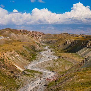 Riveirbed in de Alai-vallei, Kirgizie van Maarten de Leeuw